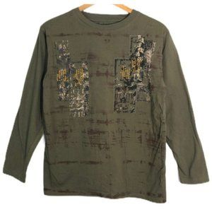 Redemption Military Green Embellished Shirt S EUC